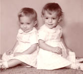 Baby picture of Linda and Cinda Williams