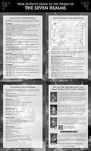 Poster back has 4 parts - characters, language, places, and synopses of the Seven Realms books
