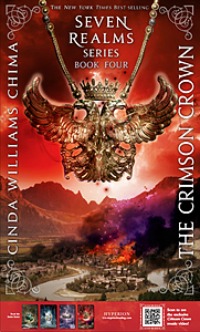 Poster front is The Crimson Crown book cover